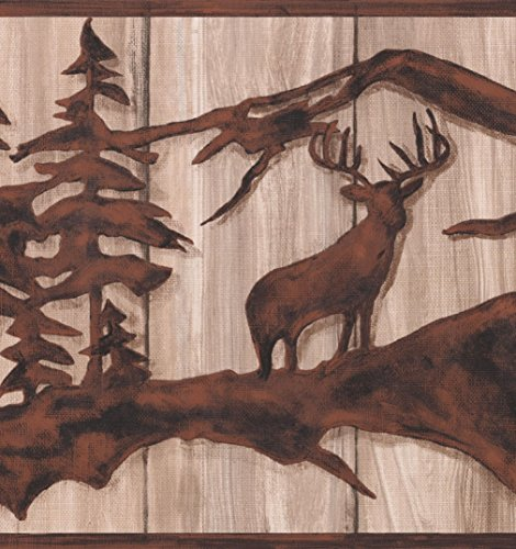 Tawny Brown Abstract Wild Forest Deer Bear on Beige Faux Wood Wallpaper Border Retro Design, Roll 15' x 10