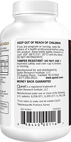 Qunol Ultra 100mg CoQ10 3x Better Absorption Patented Water and Fat Soluble Natural Supplement Form of Coenzyme Q10 Antioxidant for Heart Health 120 Count Softgels Discount