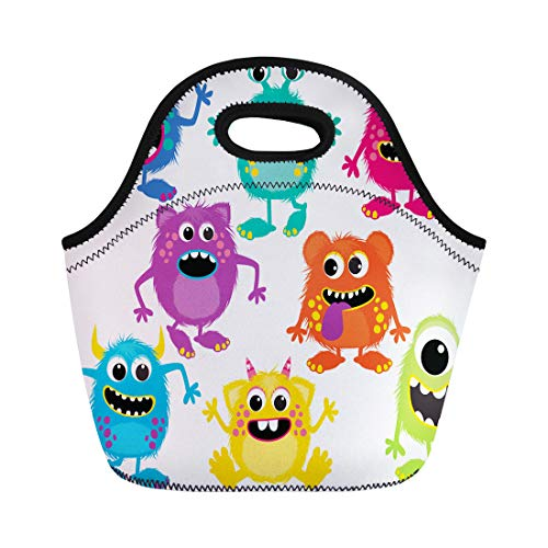 Semtomn Neoprene Lunch Tote Bag Cartoon Fluffy Monsters Cute Little Kid Alien Birthday Party Reusable Cooler Bags Insulated Thermal Picnic Handbag for Travel,School,Outdoors,Work