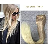 """Full Shine 20"""" 7 Pcs 120 Gram Per Package Pastel Hair Extensions Clips in Hair Extensions Human Hair Ombre Hair Extensions Human Hair Clip in Color 5 Fading to #20 and #24"""