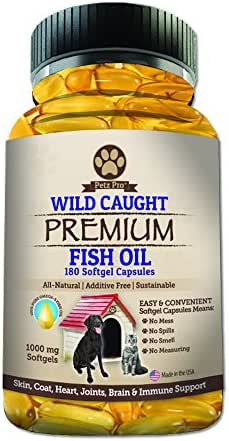Omega 3 Wild Caught Fish Oil for Dogs EPA DHA, Higher in Omega 3 Fatty acids then Salmon oil, Pure No GMO, All Natural Food Supplement For Pet, 180 Softgels, 1000mg per capsule, No Mess No Smell!