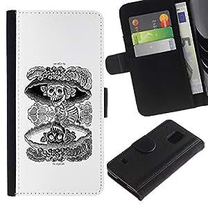 KLONGSHOP / Tirón de la caja Cartera de cuero con ranuras para tarjetas - Nuclear Skull Death Black White Rock - Samsung Galaxy S5 V SM-G900