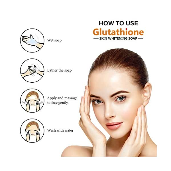 LA Organo Glutathione Papaya Skin Whitening Soap; with Vitamin E and C; Dark Spot and Dead Skin Cell Removal; 100 g 2021 July Glutathione as a high antioxidant that can maintain healthy skin cells also has the benefit of making skin look brighter. Glutathione is a very popular active ingredient widely use for skin lightening and softening purposes. Regular use of soap containing glutathione can make your body glow.