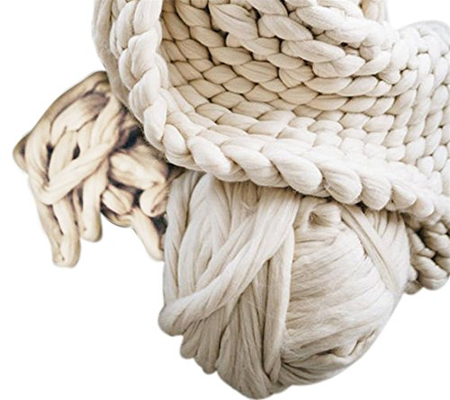 HomeModa Studio 100% Non-Mulesed Chunky Wool Yarn Big chunky Yarn Massive Yarn Extreme Arm Knitting Giant Chunky Knit Blankets Throws Grey White (0.5kg-1.1lbs, Ivory)