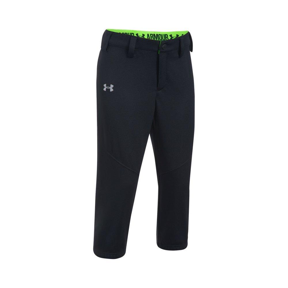 Under Armour Girls' Base Runner Softball Pants, Black (002)/Overcast Gray, Youth Small
