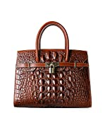 Pifuren Women Top Handle Handbags Satchel Shoulder Tote Crocodile Bag E79016(30CM, 30cm Brown)