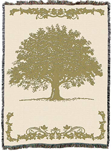 - Pure Country Weavers | Oak Tree Sand Woven Tapestry Throw Blanket with Fringe Cotton USA 72x54