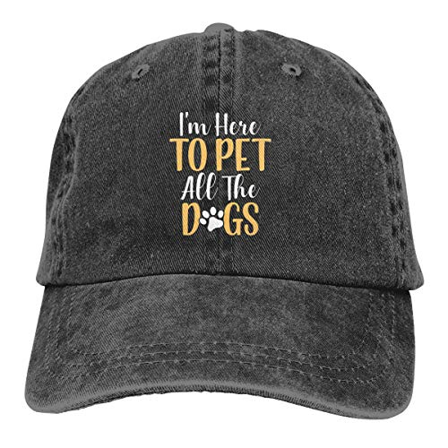 (I'm Here to Pet All The Dogs Denim Hat Adjustable Men Great Baseball)