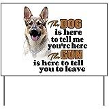 CafePress Yard Sign - Beware of Dog/Gun (German Shepherd) Yard Sign