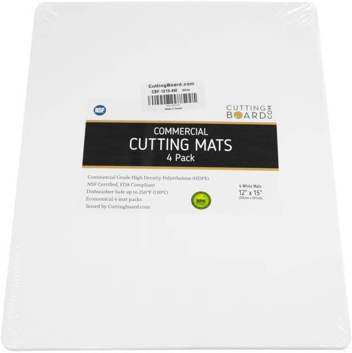 Commercial Grade White Cutting Board Mat NSF - 15 x 12 Inch, 4 Pack