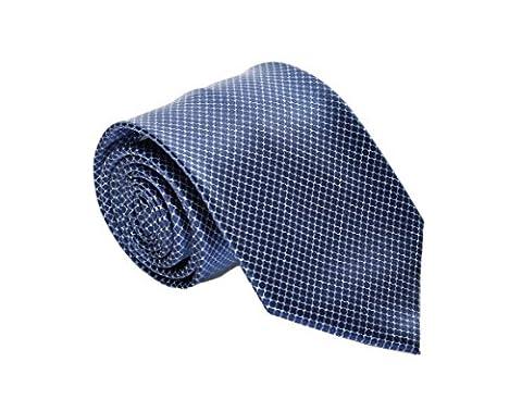 Brioni Men's Circle Pattern Printed Silk Necktie Blue - Circle Print Tie