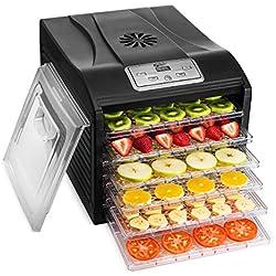MAGIC MILL Food Dehydrator Machine, 6 Drying Racks Multi-Tier Food Preserver, Digital Control BUNDLE BONUS 2 Fruit Leather Trays, 1 Fine Mesh Sheets,