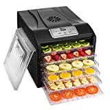 MAGIC MILL Professional Food Dehydrator, 6 Drying Racks Multi-Tier Food Preserver, Digital Control BUNDLE BONUS 2 Fruit Leather Trays, 1 Fine Mesh Sheets,