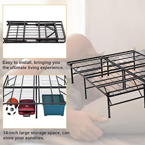 Bed Mattress Frame 14 Inch Portable Duty Steel Black,Queen