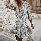 GIFC â–¶Clearance Fashion Women Snakeskin Print Button V Neck Long Sleeve Mini Dress Party Dress for Ladies