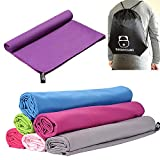 BOOMYOURS Microfibre Quick Dry Towel for Travel,Sports,Gym,Yoga,Swimming,Beach (Large/Lightweight/Highly Absorbent/Compact/Soft Microfibre) Includes FREE Sports Drawstring Bag -Dark Purple