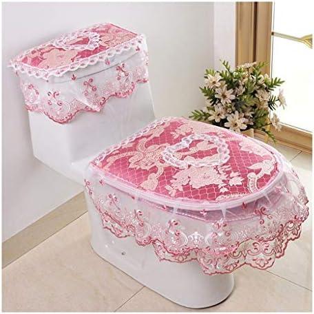 便座カバー、トイレウォーマー洗える布トイレシートクッション、3のレースセット、ピンク (Color : Pink)