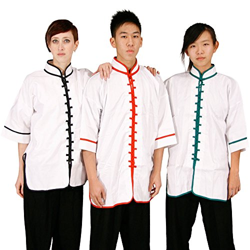 White-Kungfu-Uniform-with-RedGreenBlack-Interloop-Toptop-only