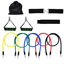 Turata Resistance Bands Exercise Bands Rubber Fitness Workout Bands with Door Anchor Ankle Strap Carrying Case for Home Gyms Physical Therapy (5 Colors)