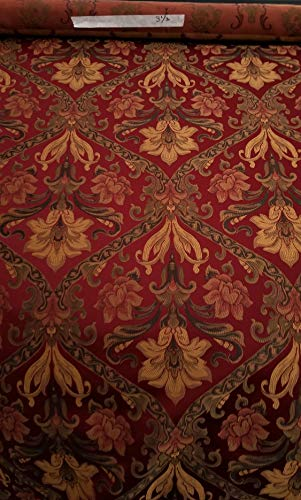 Burgundy/Gold Chenille Damask Upholstery Fabric Curtain Panels Drapery Sold by 3 1/2yards