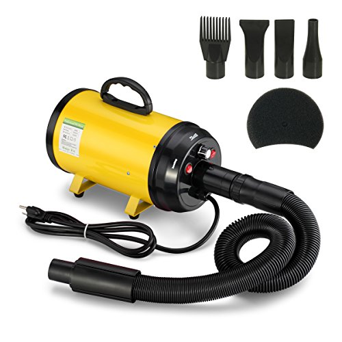 Gelinzon 3.2HP Stepless Adjustable Speed High Velocity Pet Hair Force Dryer Dog Grooming Blower with...