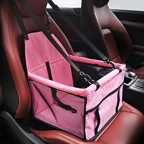 HIPPIH Collapsible Pet Booster Car Seat Cat Car Carrier with Safety Leash and Zipper Storage Pocket with 2 Support Bars, Portable Small Dog (Princess Dog Cage)
