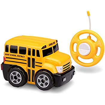 RC School Bus Radio Steering Wheel Remote Control Lights /& Sound Kids Toy New