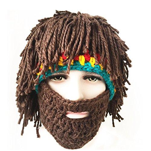 FUGUS Creative Knit Bearded Hats Handmade Beard Wig Warm Caps (Friend Knit Hat)