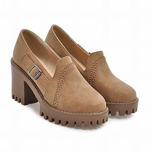 Mee Shoes Damen chunky heels Plateau ohne Verschluss Pumps Gelb