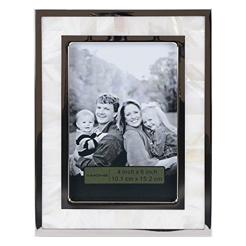 AIMONE Mother of Pearl White Photo Frame with Metal Edging Finish for (Modern White Mother Of Pearl)