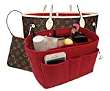Felt Insert Fabric Purse Organizer Bag, Bag Insert In Bag with Zipper Inner Pocket Fits Neverfull Speedy 8010 Red XL