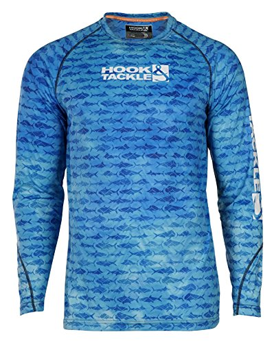 Hook & Tackle Men's Gamefish Camo Long Sleeve Sun Protection Fishing Shirt Blue Mist Large