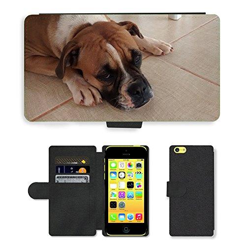 GoGoMobile PU Leather Flip Custodia Protettiva Case Cover per // M00125081 Chien Boxer Sad // Apple iPhone 5C