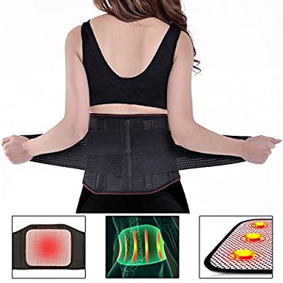 Lumbar Brace, Charminer Lower Back Support Massage Brace Support Belt, Dual Adjustable Self-heating Magnetic Therapy Belt for Pain Relief and Injury for Men Women