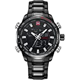 Relojes Para Hombres Deportivos Fashion Negro Impermeable Digital LED Analógico De Alarma Con Cronógrafo