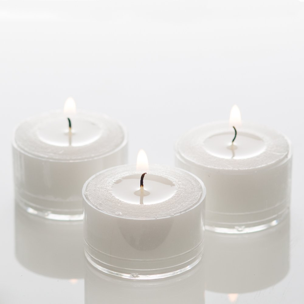 OKSLO Richland Clear Extended Burn Tealight Candles White Unscented Set of 100