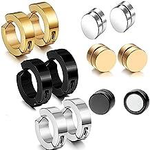 12pcs 9MM Non-pierced Hoop Earrings,8MM Magnetic Fake Gauges Earrings Studs,Gold,Silver,Black