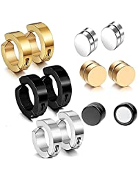 12pcs 9MM Non-pierced Hoop Earrings,8MM Magnetic Fake Gauges Earrings Studs,Gold,Silver,Black