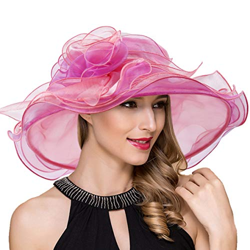 Women Organza Kentucky Derby Church Dress Fascinator Wide Brim Wedding Tea Party Hats (Pink Flower)