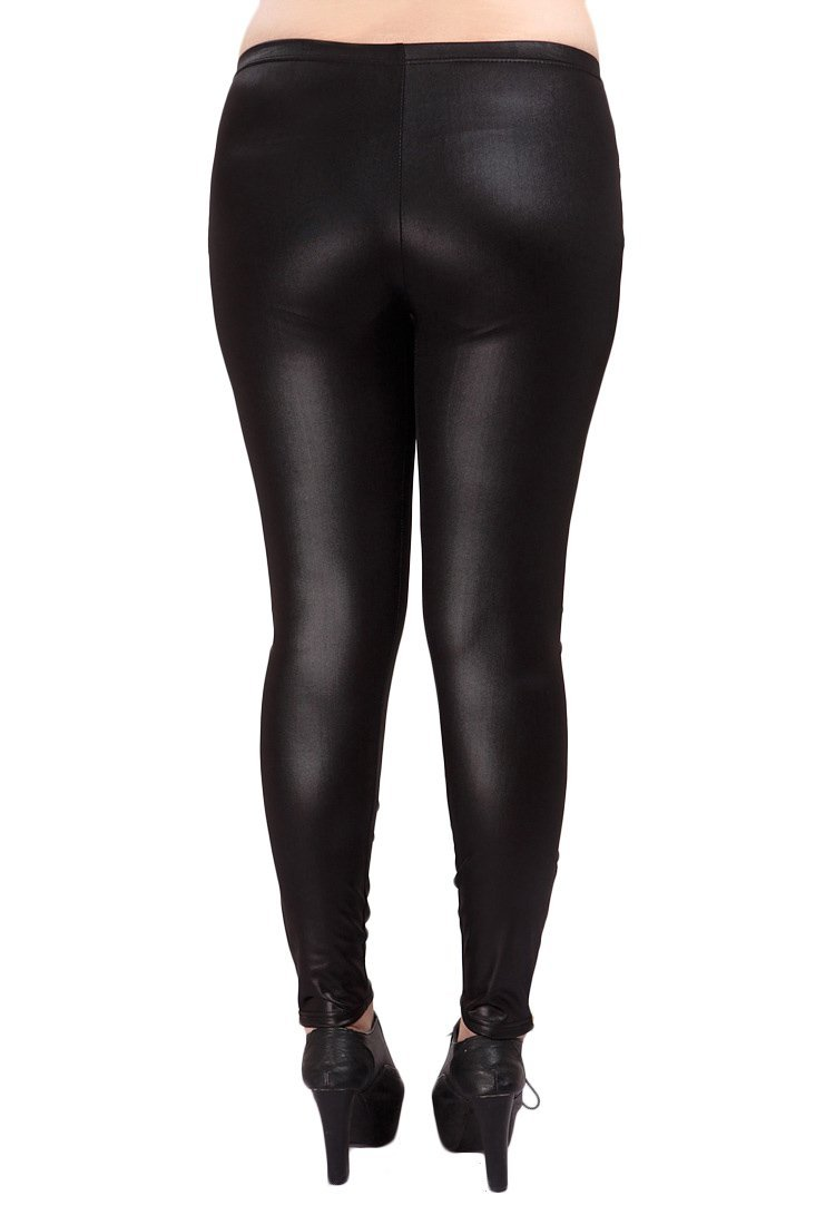 YMING Sexy Women Faux Leather Legging Tight Legging Black Size 3XL by YMING (Image #3)
