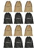 Shoeshine India Black & Beige Fabric Shoe Bag (Set Of 12 Bags)
