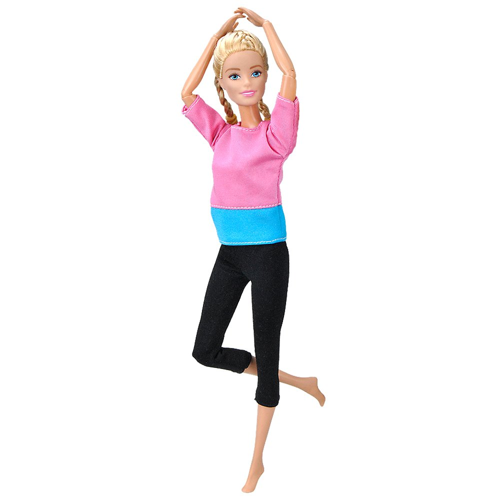 E-TING Handmade Yoga Clothes Gym Running Sportswear for Girl Doll (Pink-Blue Splice)