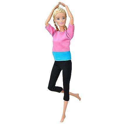 E-TING Yoga Hecho a Mano Ropa Gimnasio Trajes Deportiva para muñeca de niña (Pink-Blue)(muñeca no incluida)