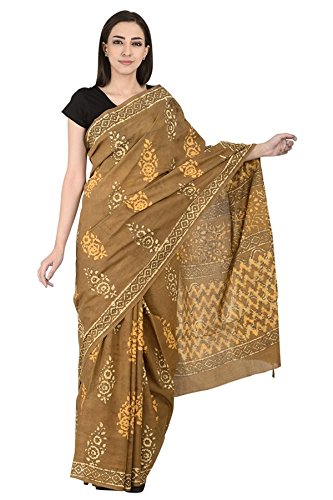 0bd7bb15988ce ShopolicsBrown and White Floral Design Cotton Block Print Saree-20107Â For  Wedding