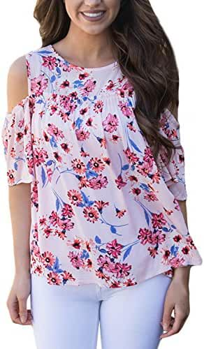 Annflat Women's Floral Print Cut Out Shoulder Short Sleeve T Shirt Blouse(9 Color,S-XXL)