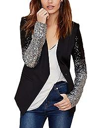 Women Elegant Plus Size Sequins OL Blazer Business Jackets Coats