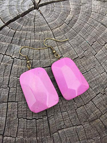 Pink Magnesite Trapezoids Earrings (Freeform Earwire Earrings)