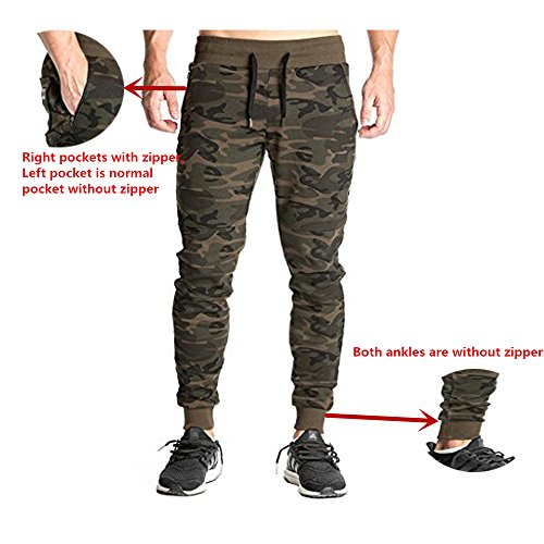 Men's Joggers Pants Gym Sport Training Pants Fitness Running Trousers With Zipper Pockets and Adjustable zippered ankles (Camo, X-Small/Tag M(Waist 26