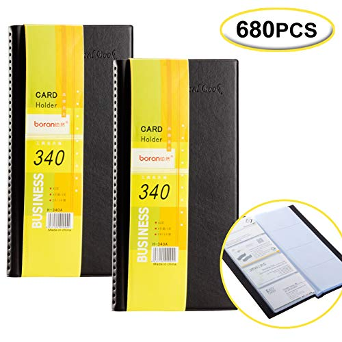 (2 Pack Office Business Cards Holder for 680 Business Cards Holder Folder Professional PU Leather Organizer Book)