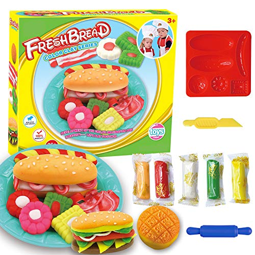 Fantarea Colour Dough Color Clay Plasticine Tools Accessories Playset Dessert Hamburger Mould Play Kit Molding DIY Learning Toys for Kid Girls Boys 5 6 7 8 Years Old